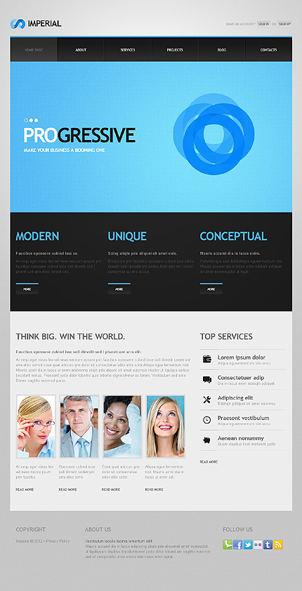 Template 41041 - Business Responsive WordPress Theme