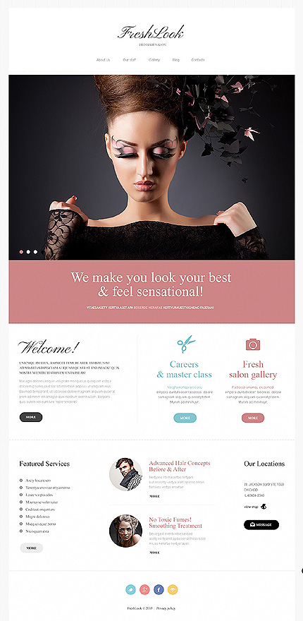 Template 46831 - Beauty Salon Responsive Joomla Template with Homepage Slider, Gallery and Blog