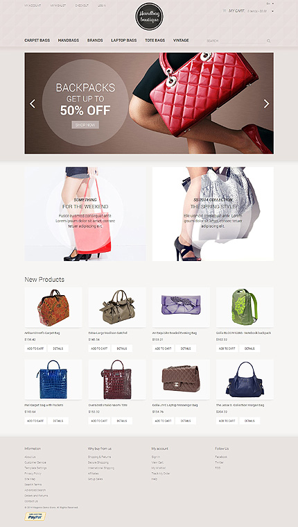 Template 50486 - Handbag Boutique Responsive Magento Theme with Slider, Product Slideshows with Image Zoom