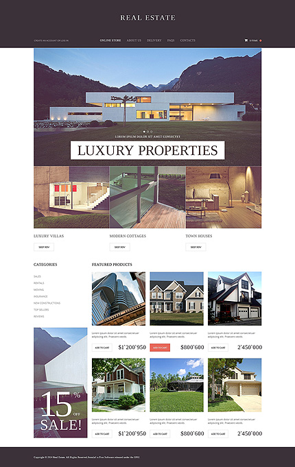 Template 50537 - Real Estate VirtueMart Template with Slider, Property Slideshows with Image Zoom