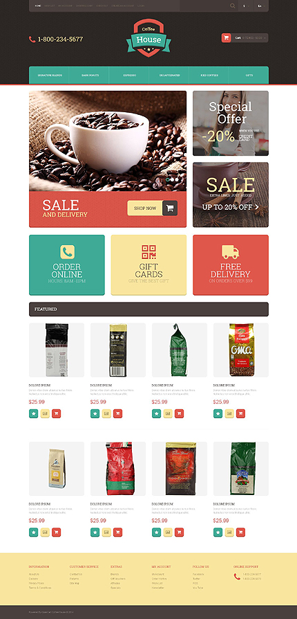 Template 51838 - Coffee House Responsive OpenCart Template with Product Slideshow and Image Zoom