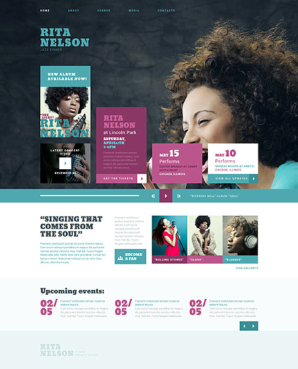 Template 52314 - Singer Responsive Joomla Template with Blog, Forum and Gallery