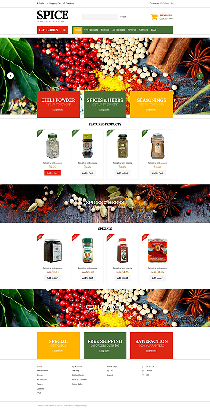 Template 51820 – Spice Store ZenCart Template in Red, Green and Yellow with Homepage Slider, Product Slideshows
