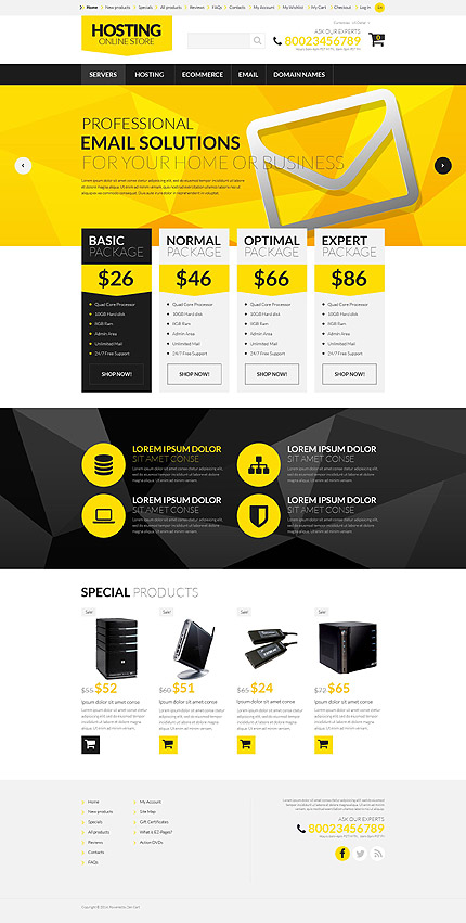 Template 52263 - Hosting Company ZenCart Template with Yellow and Black Geometric Design, Slideshow, Banners