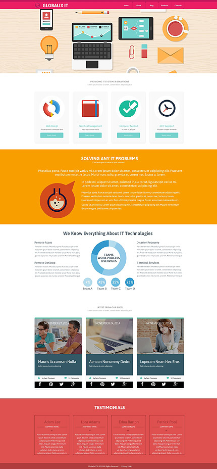 Template 52879 – IT Responsive Website Template with Gallery and Blog