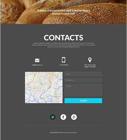 Footer for Template 53200 - Sam Bakery Responsive Website Template