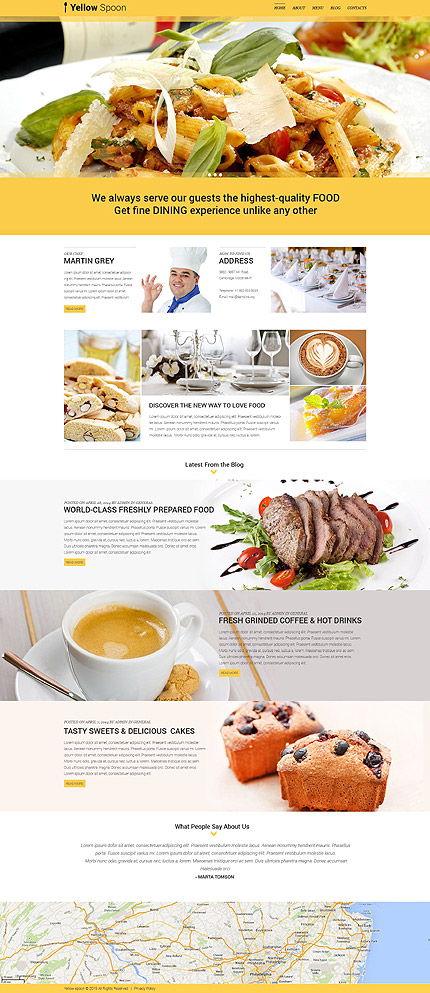 Template 53436 - Cafe and Restaurant Responsive WordPress Theme with Slider, Gallery, Blog, Parallax and Lazy Load Effect