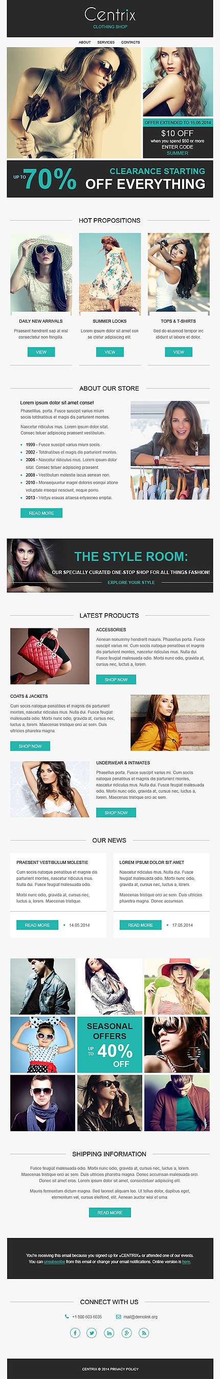 Template 50929 - Clothes Responsive Newsletter Template