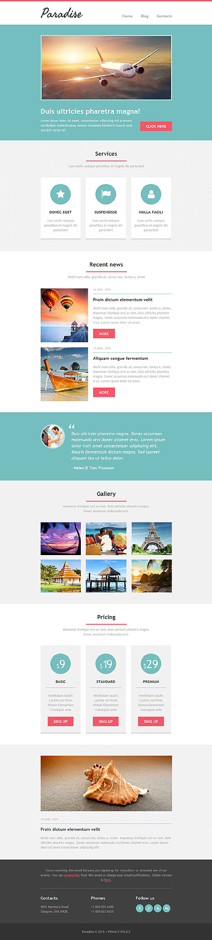 Template 52696 - Travel Responsive Newsletter Template - MailChimp Ready, Campaign Monitor Ready