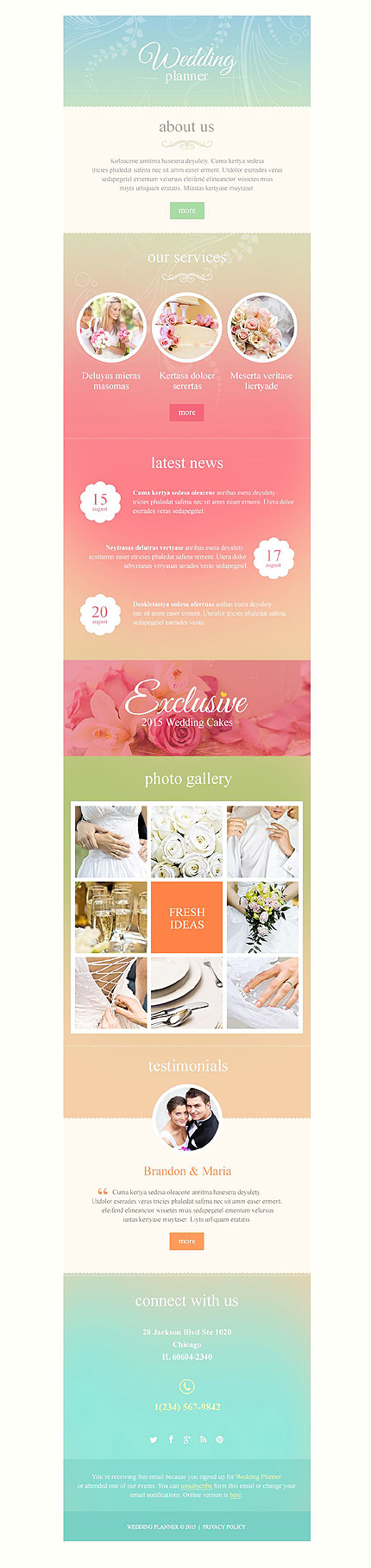 Template 53089 - Wedding Planner Responsive Newsletter Template - MailChimp Ready, Campaign Monitor Ready