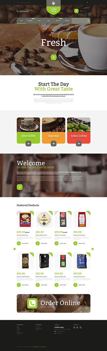 Template 53921 - Coffee Store Responsive Shopify Theme