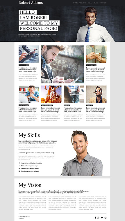 Template 53935 - Personal Page Responsive WordPress Theme