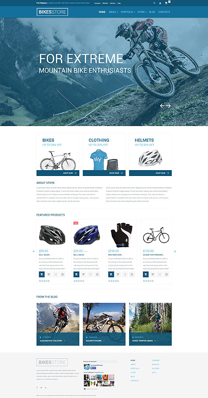 Template 54734-Bike Store Responsive WooCommerce Theme with Slider, Blog, Portfolio and Lazy Load Effect