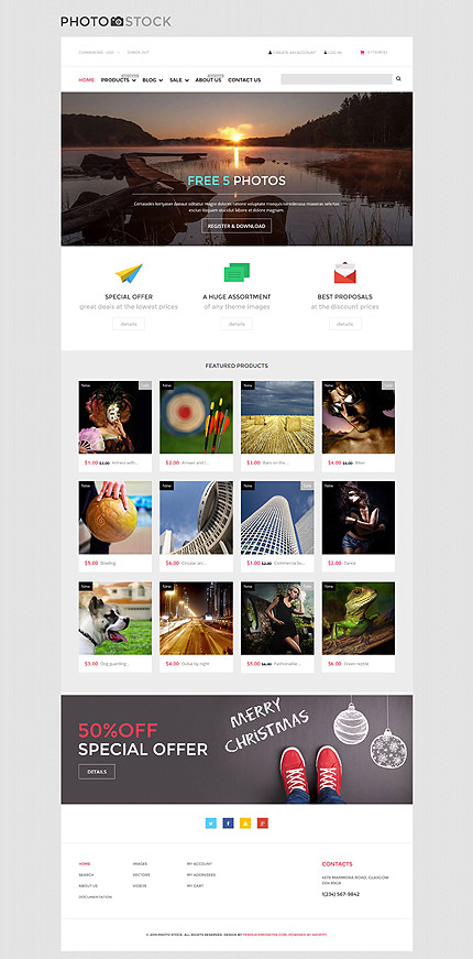 Template 53140 - Stock Photo Responsive Shopify Theme with Blog