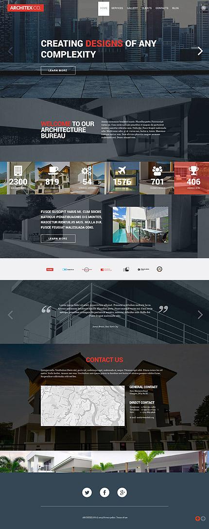 Template 53384 - Architecture Responsive WordPress Theme with Slider, Portfolio, Blog, Parallax, Carousel, Lazy Load Effect