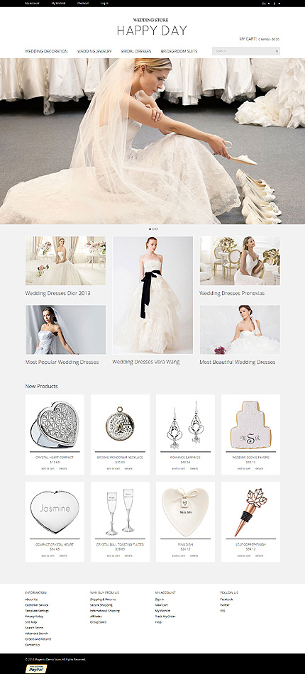 Template 50782 - Wedding Store Responsive Magento Theme with Slider, Product Slideshow with Zoom
