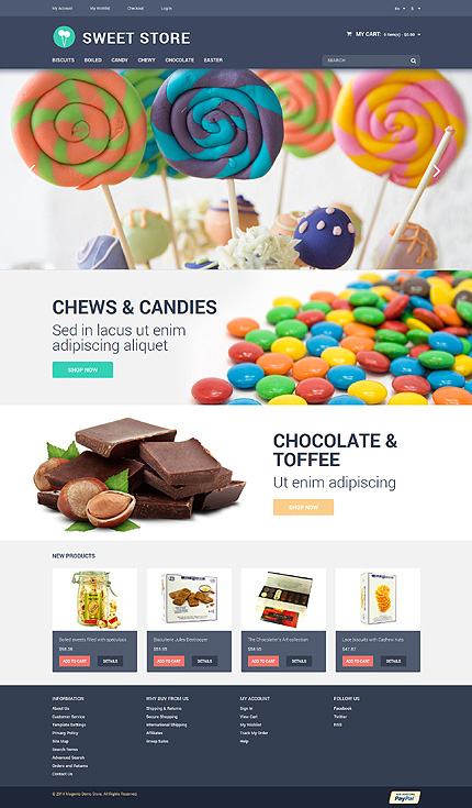 Template 50982 – Candy Store Responsive Magento Theme with Slider