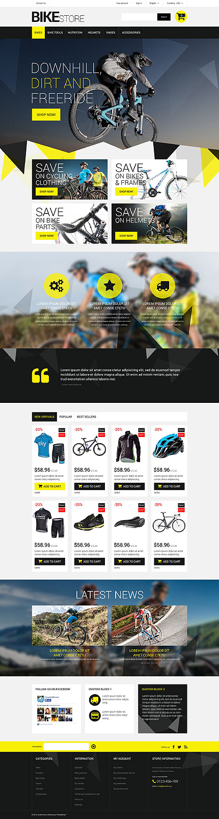 Template 52283 - Bikes Store Responsive PrestaShop Theme, Triangle Design, Lazy Load, Slider, Animated Custom Blocks and Blog