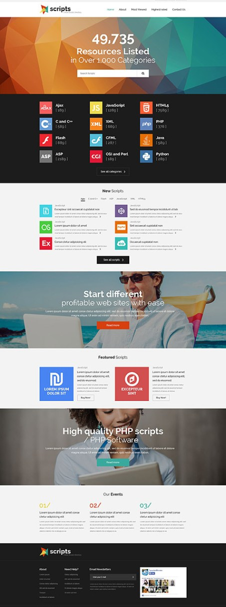 Template 54873 - Script Directory Responsive Website Template with Parallax