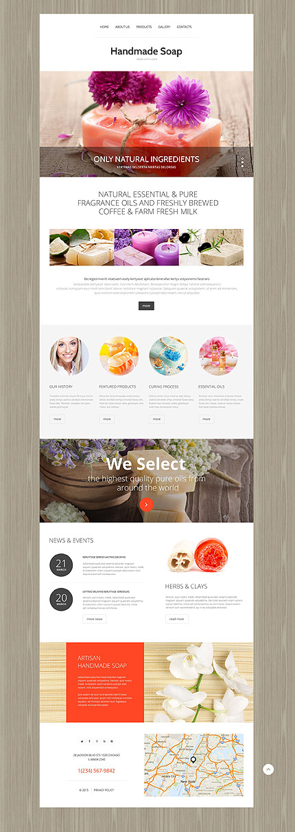 Template 55291 - Handmade Soap Responsive Website Template with Slider, Animation and Lazy Load