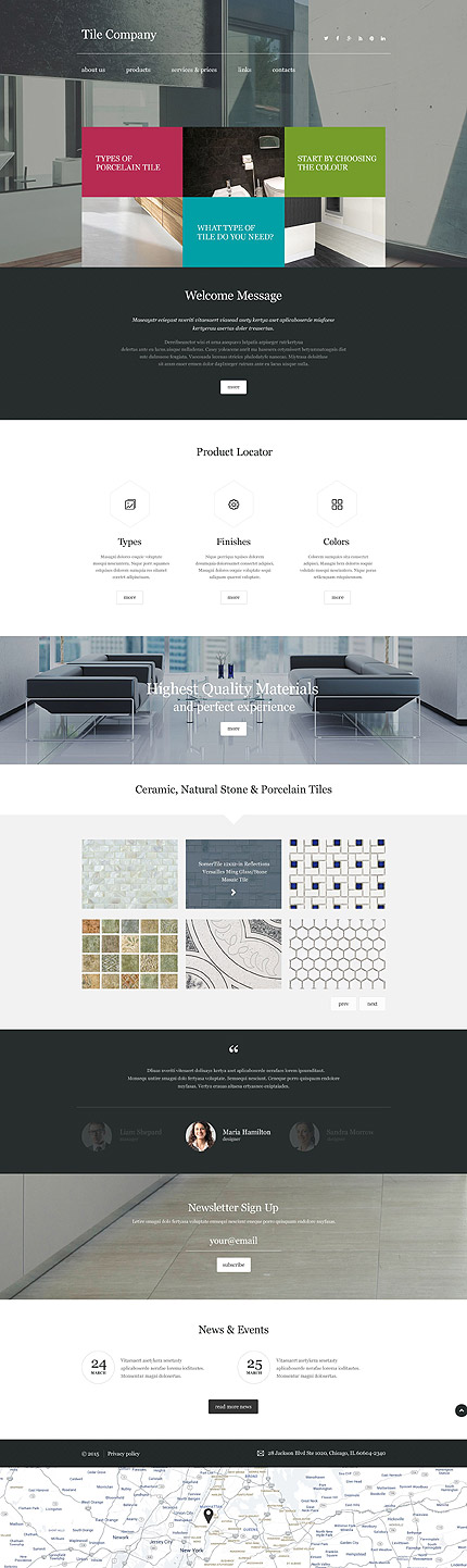 Template 55295 – Tile Company Responsive Website Template with Parallax, Large Background Image, Carousel