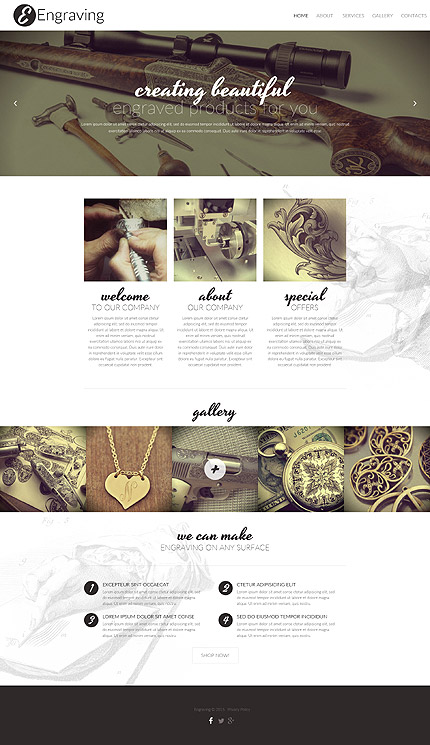 Template 57946 - Engraving Services Responsive Website Template