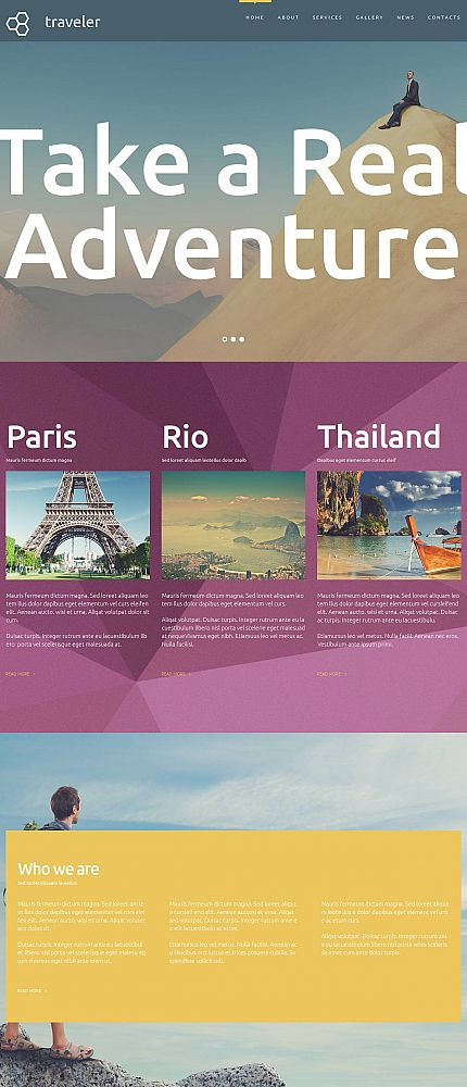 Template 53220 - Travel Agency Moto CMS 3 Website Template
