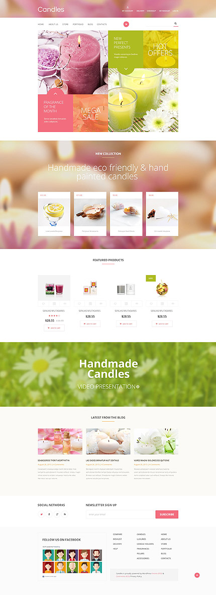 Template 54735 - Handmade Candles Responsive WooCommerce Theme with Banners, Product Slideshow, Video, Blog and Gallery