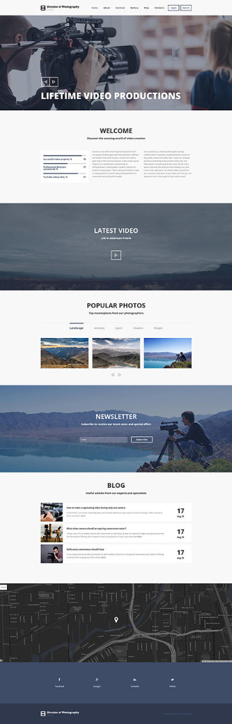 Template 55343 –Photography Studio Responsive Drupal Template, Parallax Slider, Slideshow, Video, Blog, Portfolio