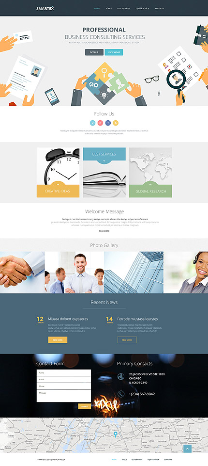 Template 57831 – Smartex Business Consulting Responsive Website Template with Parallax, Background Video, Gallery