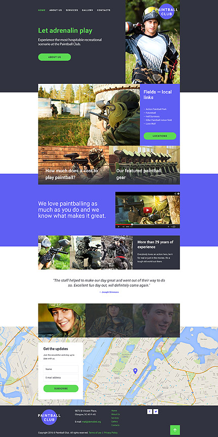 Template 58192 - Paintball Club Responsive Website Template