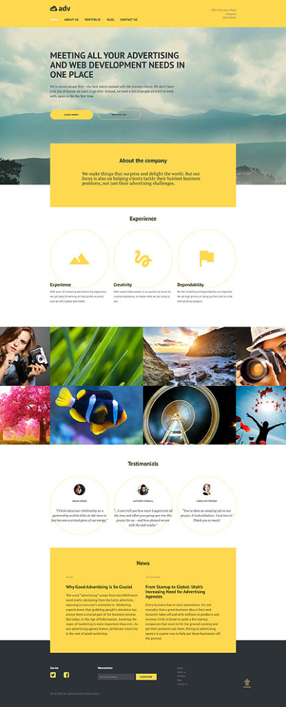 Template 58493 - Advertising Agency Responsive WordPress Theme
