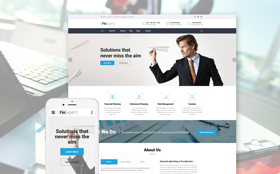 Template 61389 - Financial Advisor Responsive Website Template with Slider, Carousel, Blog