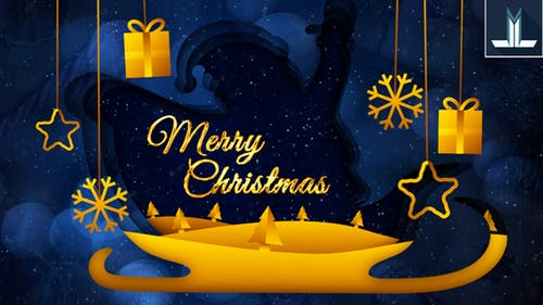 Blue and Gold Animated Christmas Card Greeting