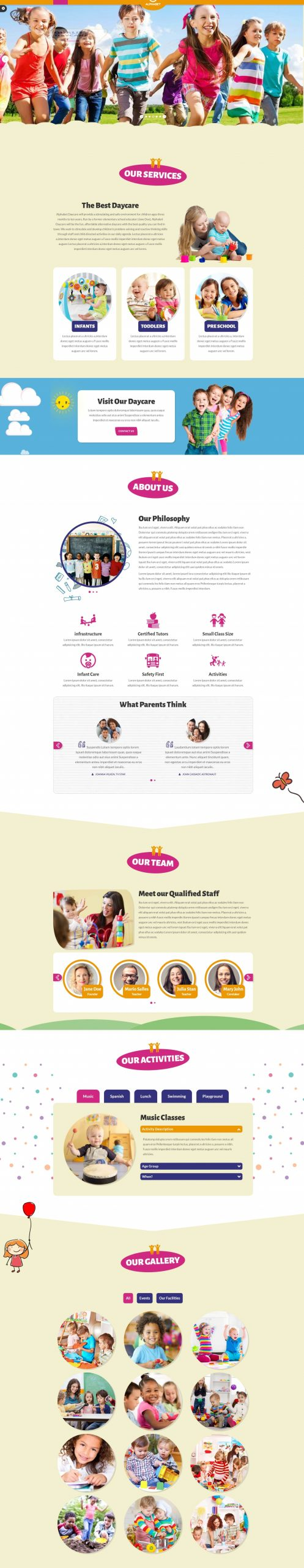 Alphabet - Fun & Colorful Responsive One page HTML5 Kids Day Care/Kindergarten Website Template