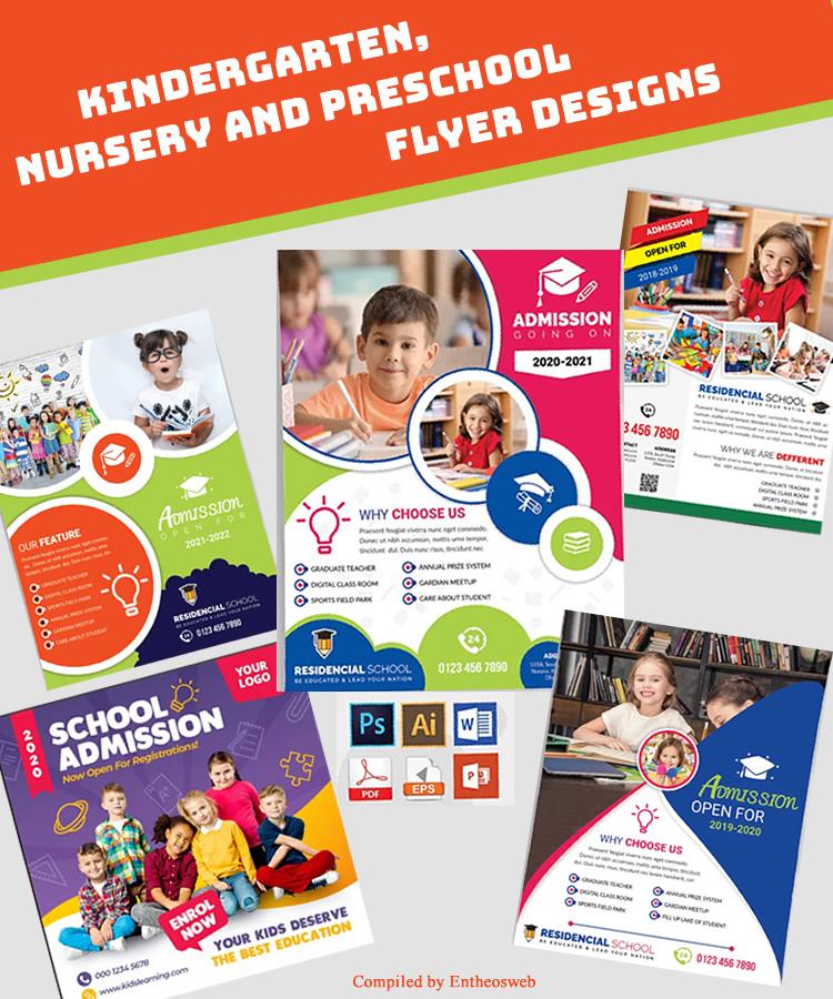 Kindergarten, Nursery, Daycare and Preschool Flyer and Brochure Design Templates
