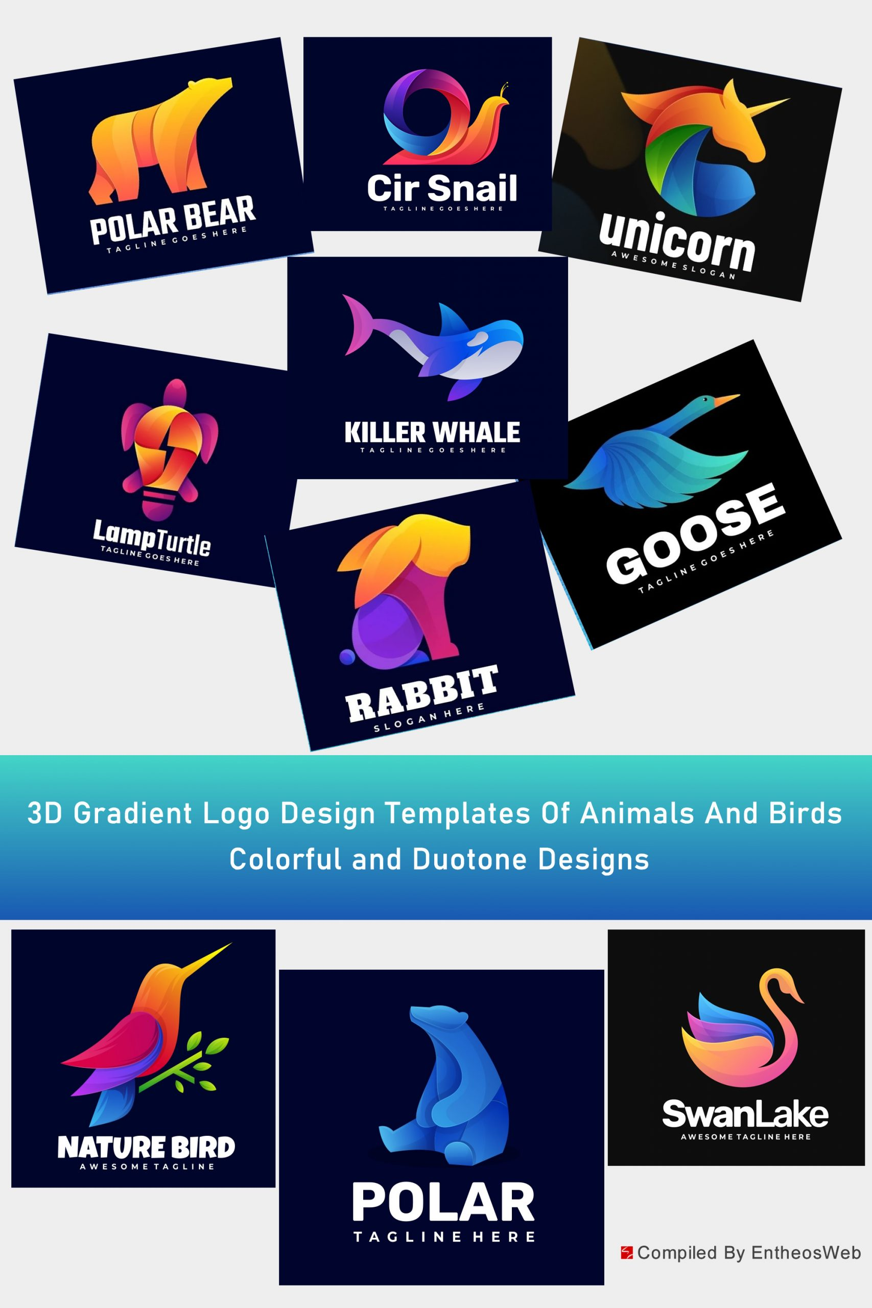 3D Gradient Logo Design Templates Of Animals And Birds - Colorful and Duotone Designs