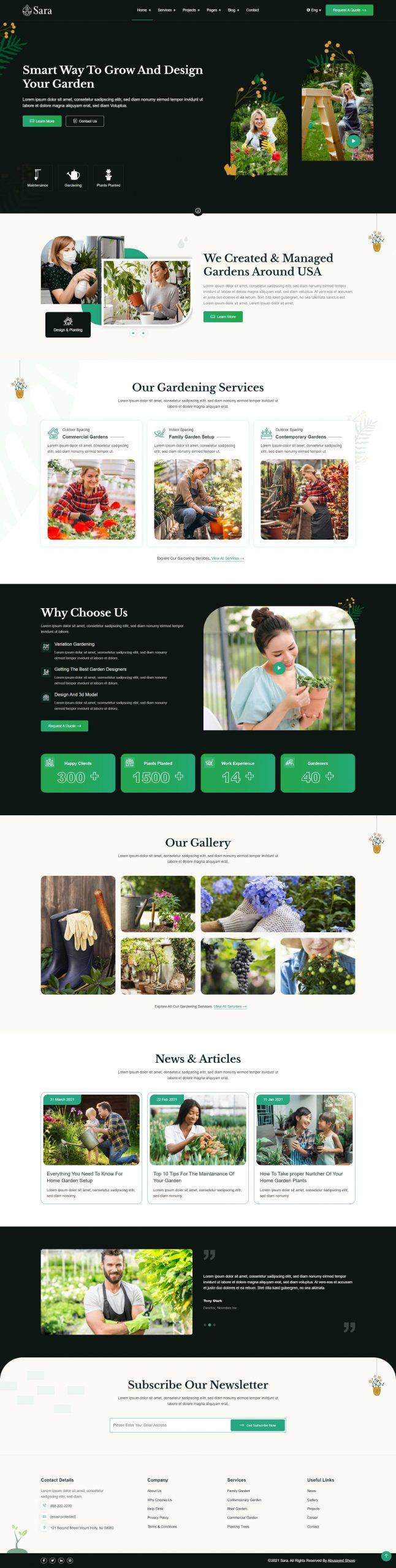 Sara - Garden Landscaper HTML Template
