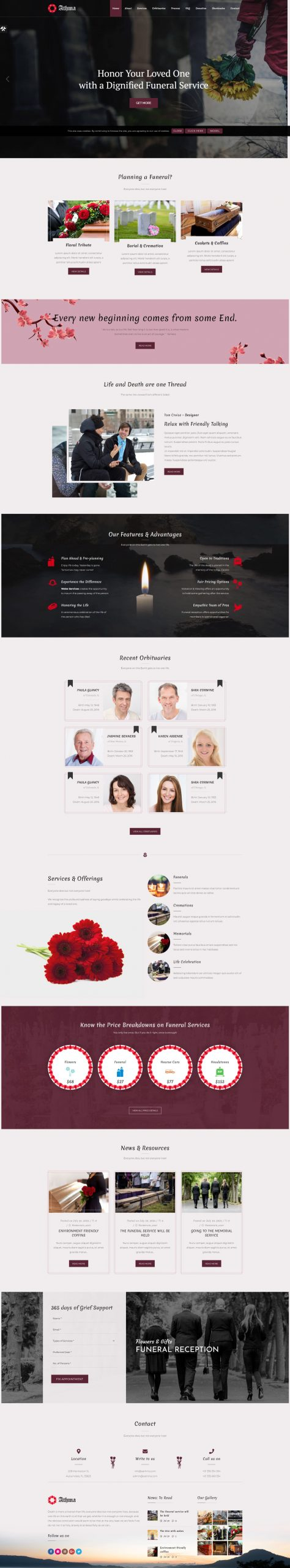 Athma - Creative Funeral HTML5 WordPress Theme With Animation Effects