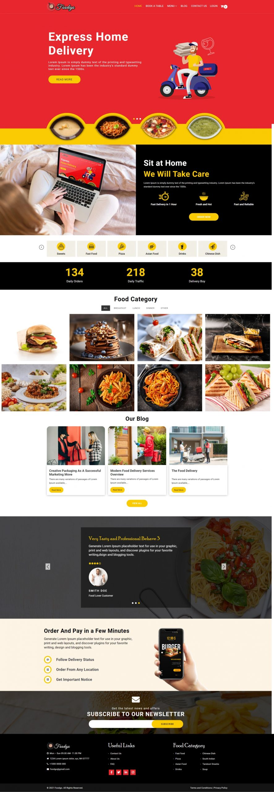 FoodGo – Modern Food Delivery and Restaurant WordPress Theme - Bright Red Header Design