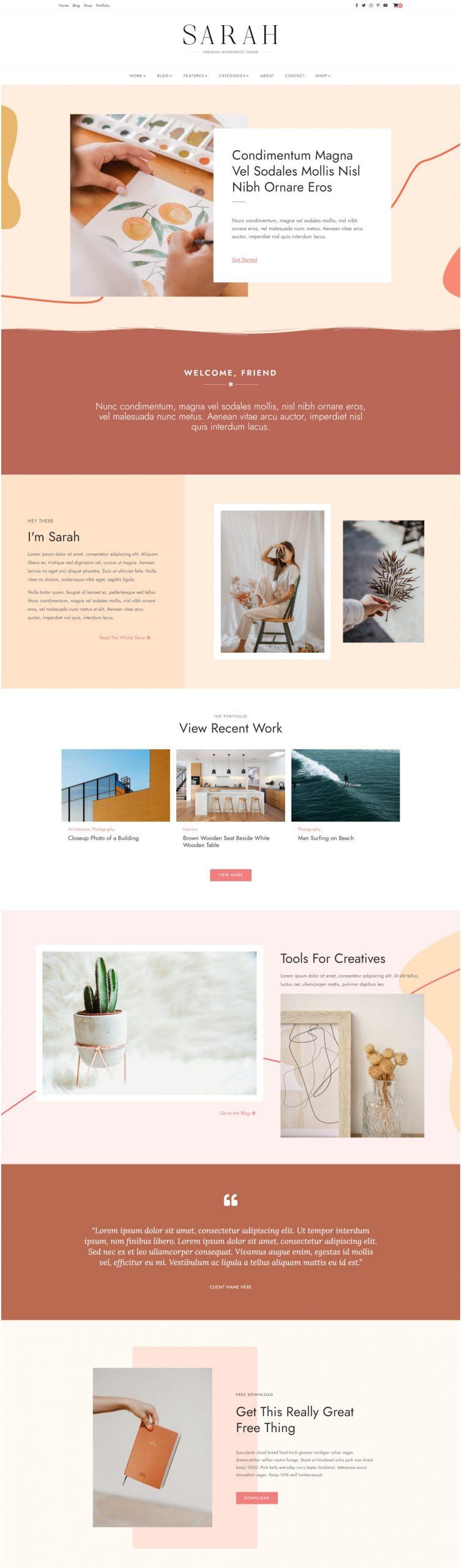 Sarah - Creative and Modern WordPress Theme Peach Color
