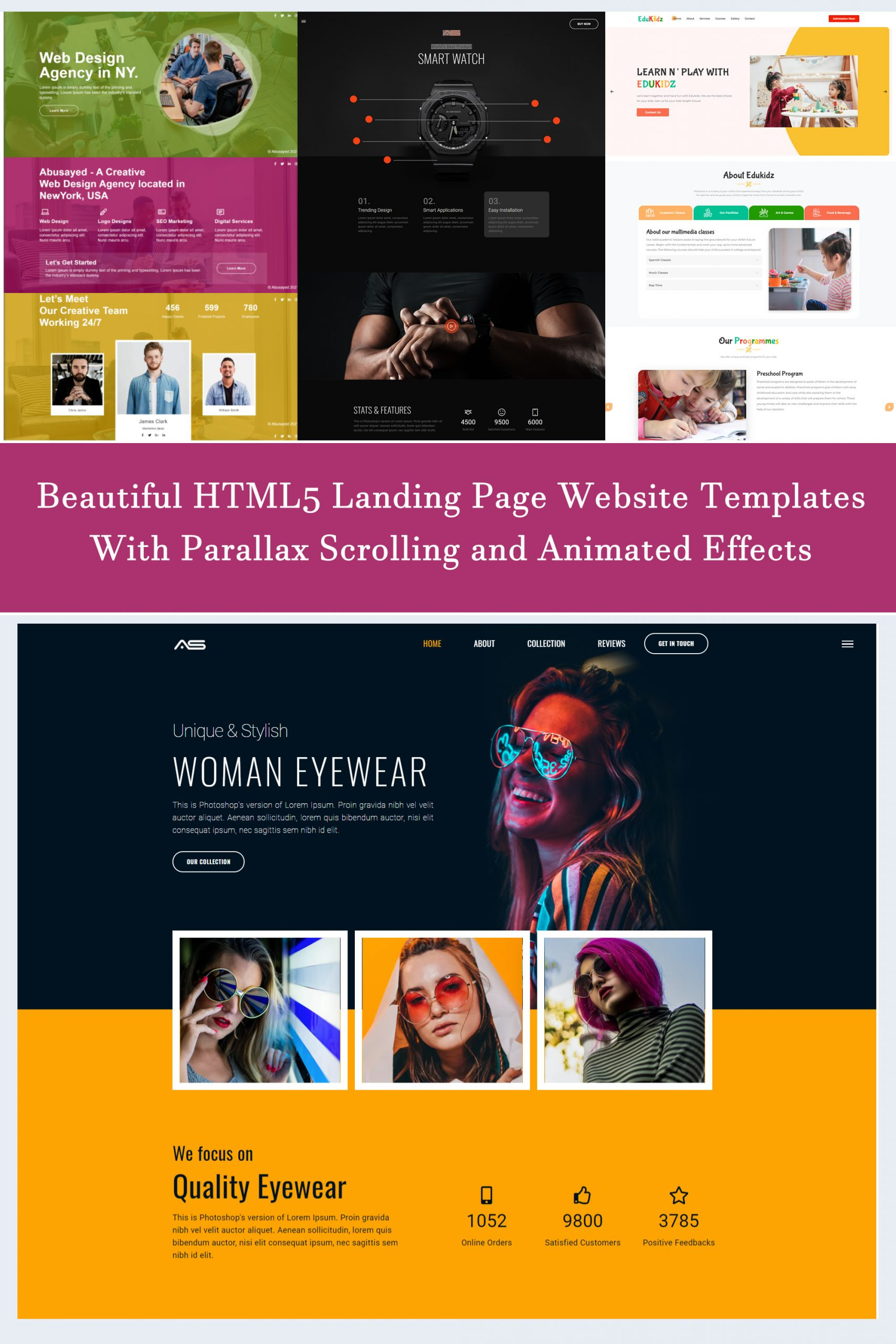 Beautiful Responsive HTML5 Landing Page Website Templates With Parallax Scrolling And Animated Effects