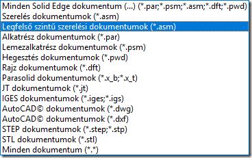 Solid Edge megnyitható fájlformátumok