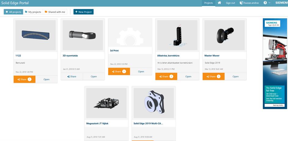 Solid Edge Portal képernyőkép
