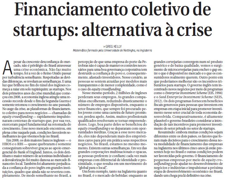 Financiamento Coletivo de Startups: Uma Alternativa para Crise