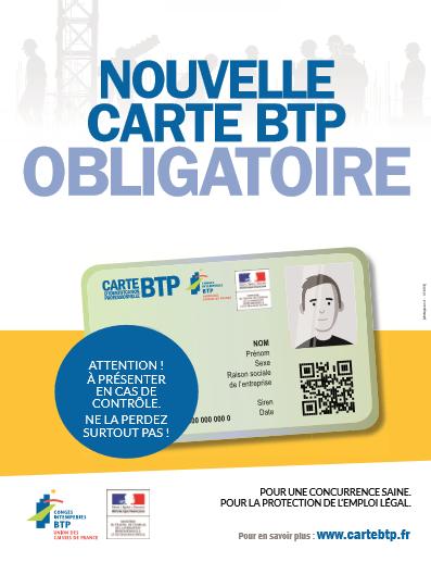 Carte BTP d'identification professionnelle