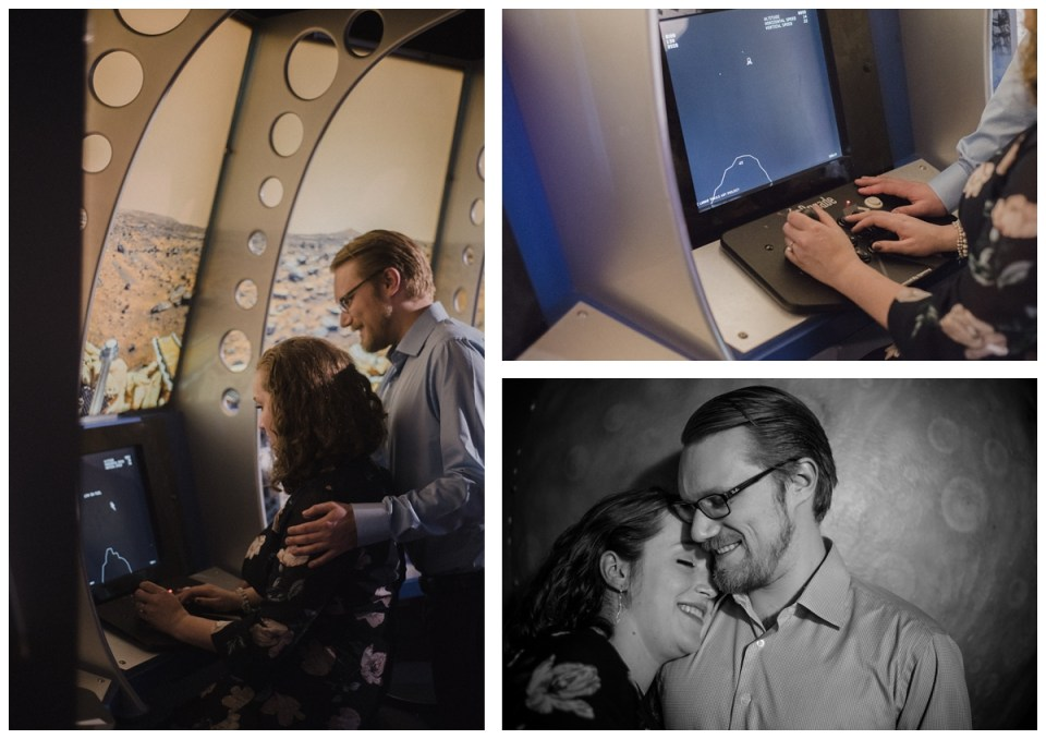 couple playing video games at science centre engagement session regina