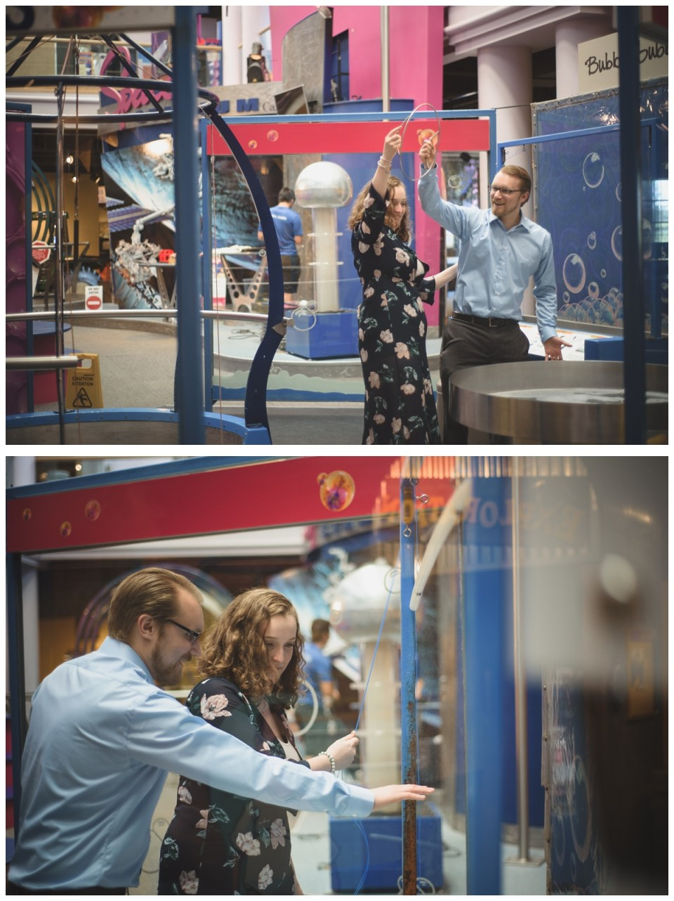 couple playing with bubbles at science centre engagement session regina