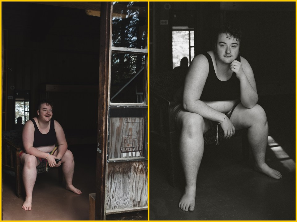 diptych of a trans man boudoir session