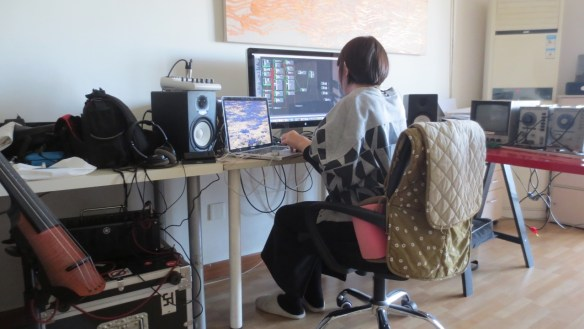 12 March 2017 Sheng Jie working in her studio